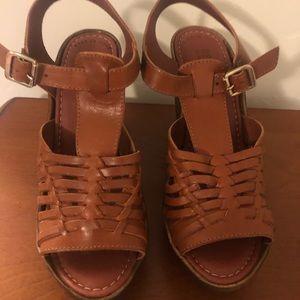 'Capellini' Wedge Sandal in Rust